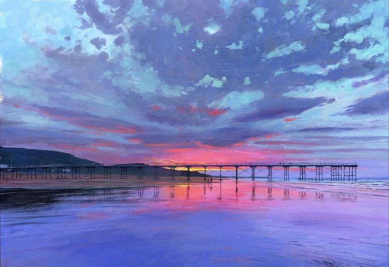 0013 Sunset Saltburn acrylic 2014 360mm x 250mm SOLD