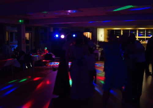 disco lights accross room