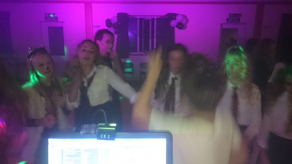 A1 mobile disco crowd shot 80's night st trinians