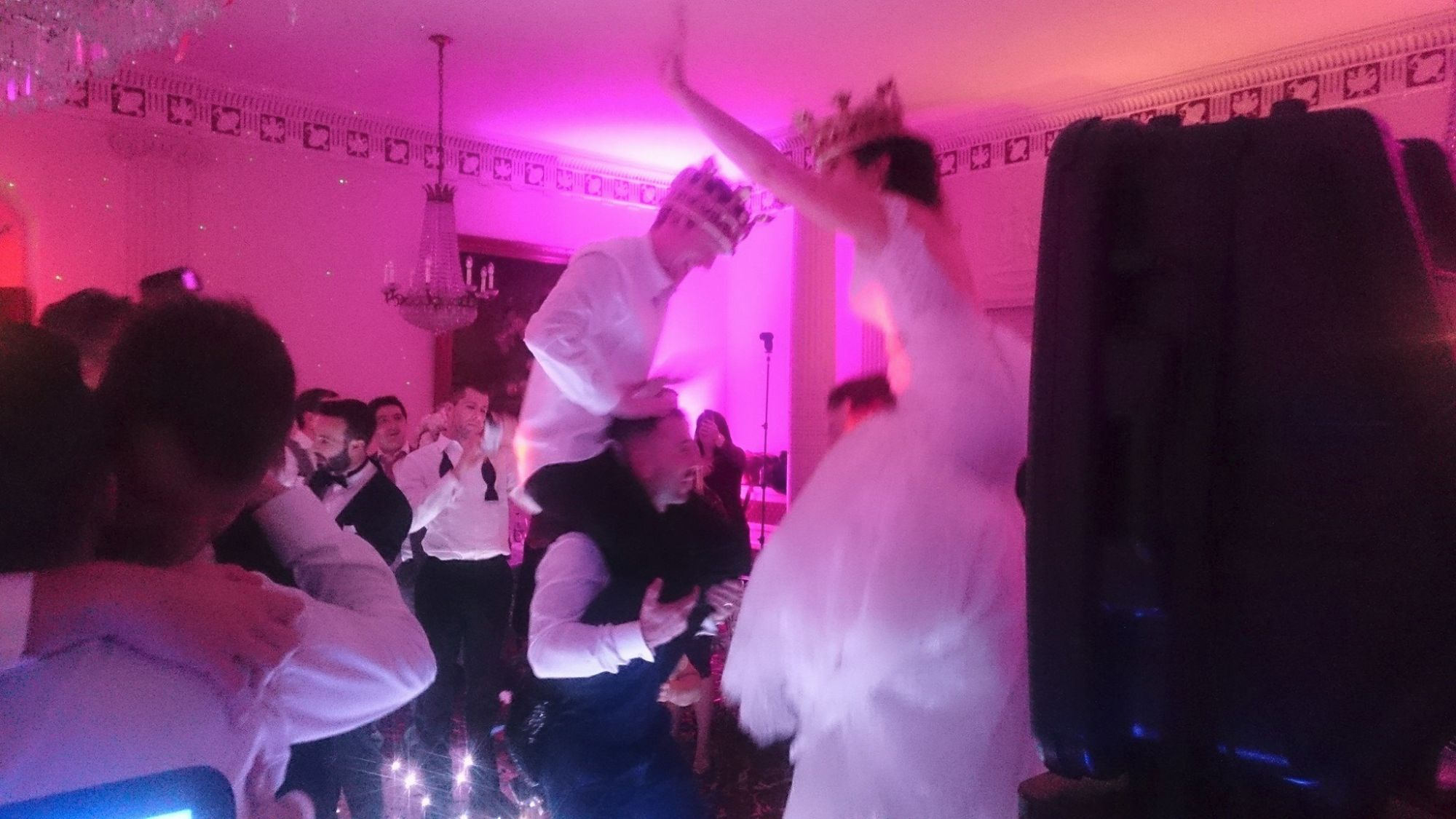 bride and groom partying down