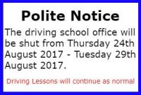 Driving School Closed