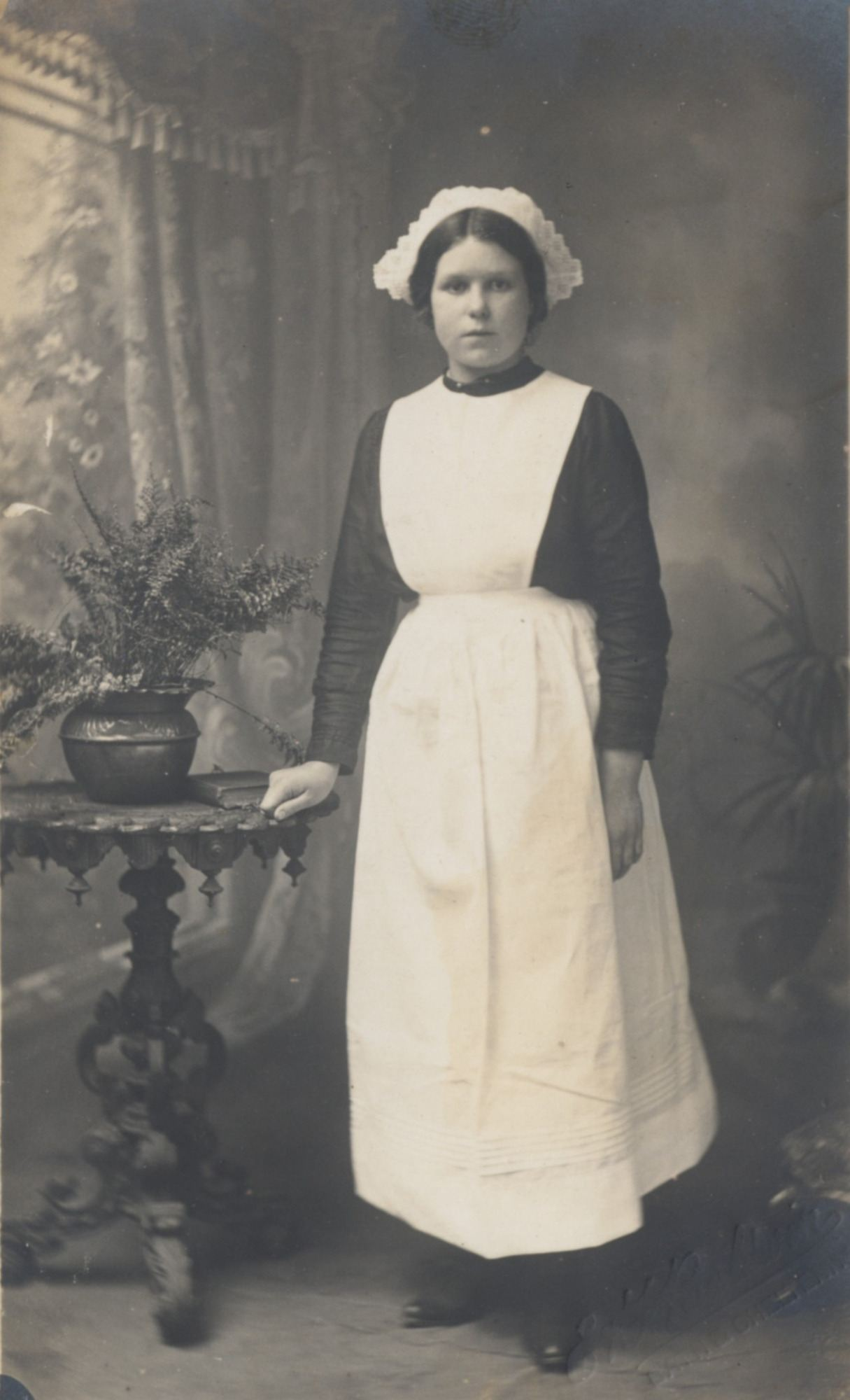 Postcard of 'Grandma's maid, Ada', circa 1905