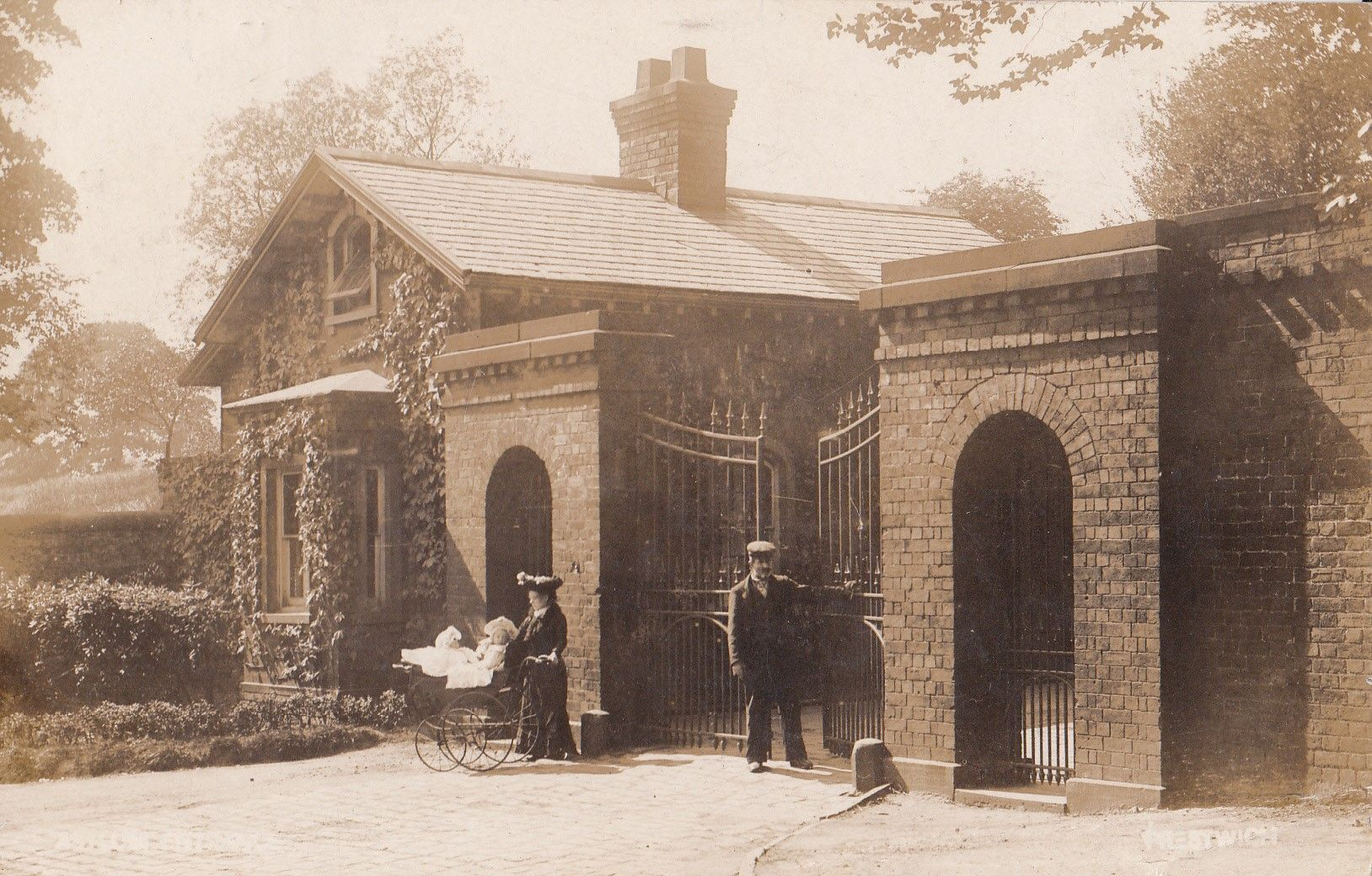 The lodge gates of Prestwich Asylum, Lancashire, circa 1905
