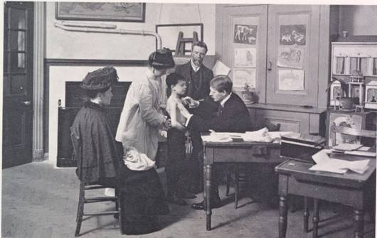 Medical examination in school, 1913