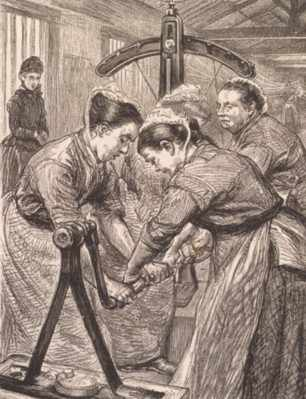 Women working in the laundry at Woking Prison (The Graphic, 1889).