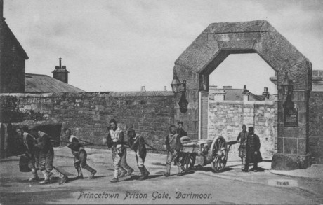 Chained convicts at Princetown, Dartmoor, which was an invalid convict prison, circa 1900.