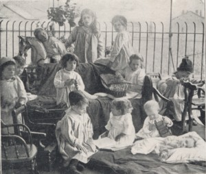 On the Roof Playground at the North-Eastern Hospital for Children, Hackney Road, Bethnal Green, circa 1900.