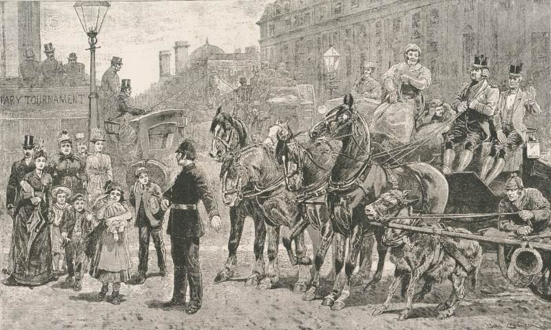 'A Crowded Crossing' from London Pictures Drawn with Pen and Pencil, 1890