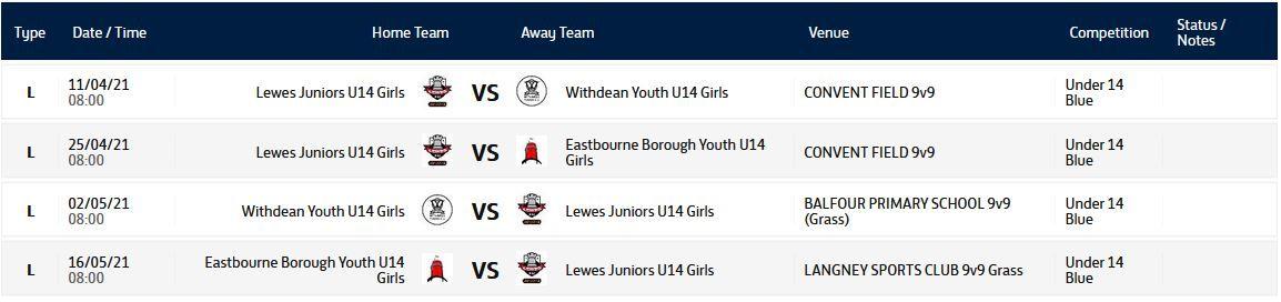 Under 14 Girls Fixtures