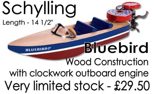 Schylling Bluebird wooden construction with outboard motor