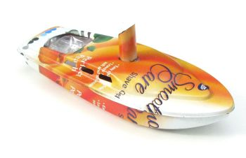 "Rum Runner Pop Pop Boat Recycled Tin. ""Smooth Care Shaving Gel"" 17.5cm long"