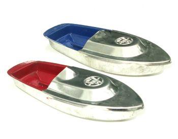 Pop Pop Boats x 2 - Blue & Silver, & Red & Silver.