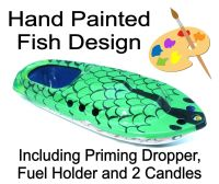 Large (15cm) Hand Painted Fish, Pop Pop Boat - Green.