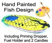 Large (15cm) Hand Painted Fish, Pop Pop Boat - Yellow