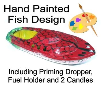Large (15cm) Hand Painted Fish, Pop Pop Boat - Dark Red.