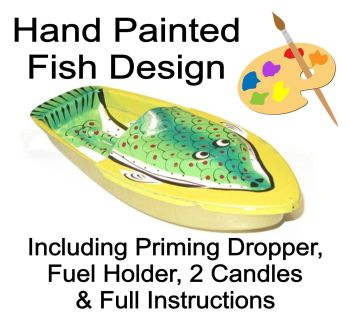 "Hand Painted ""Fish"" Pop Pop Boat - Yellow."