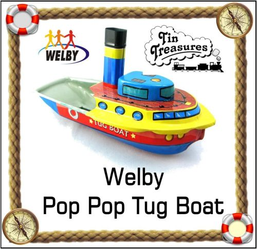 Welby Pop Pop Tug boat. Lithographed.