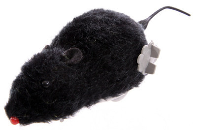 Wind up Furry Mouse - Black.