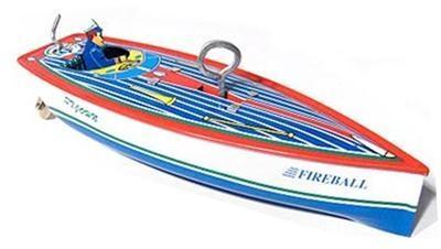 Fireball Tin Clockwork Boat. Boxed.
