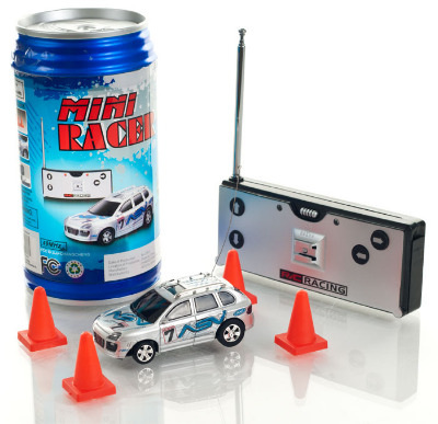 Mini Radio Controlled Car in a Can. Blue.