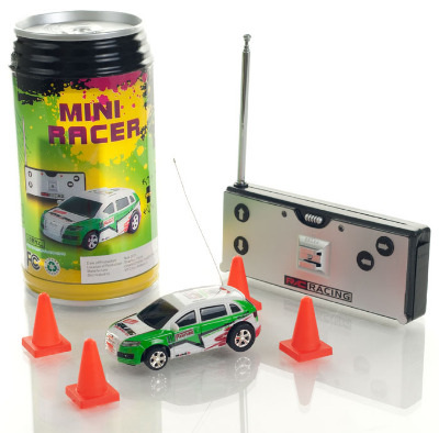 Mini Radio Controlled Car in a Can. Green.