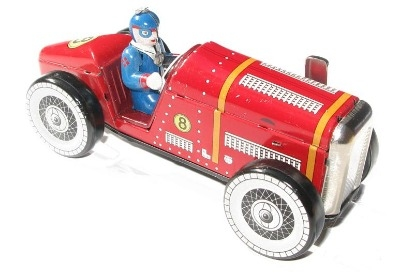 Collectors Tin Clockwork Racing Car No.8.
