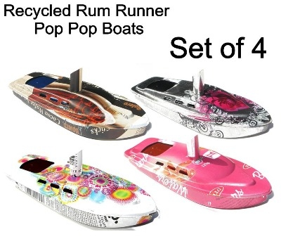 Rum Runner Pop Pop Boats. Set of 4