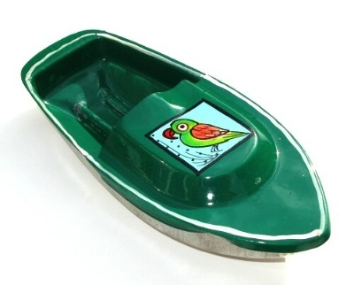 Avon 555 Pop Pop Boat - Parrot Design - Green.