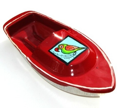 Avon 555 Pop Pop Boat - Parrot Design - Red.