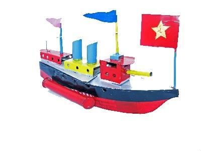 Twin Funnel Warship Pop Pop Boat.