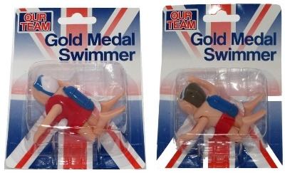 Male and Female Wind up / Clockwork Gold Medal Swimmer.