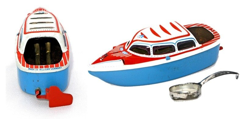 german pop pop boat red blue white 1950