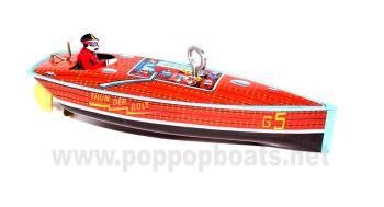 Schylling Thunderbolt Tin Clockwork Boat. Boxed.