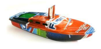 """Rum Runner Pop Pop Boat Recycled Tin. """"Gillette Fusion Shaving Gel"""" 17.5cm long"""