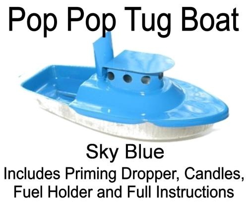 Pop Pop Tug Boat, Sky Blue.