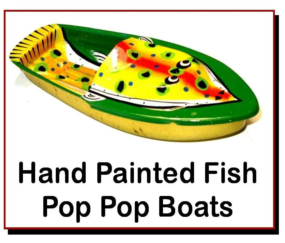 <!-- 0602 -->Fish - Hand Painted Pop Pop Boats