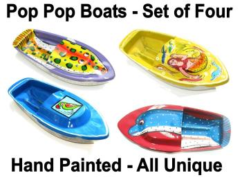 SPECIAL OFFER - 4 Hand Painted Pop Pop Boats.