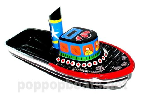 Jumbo Pop Pop Tug Boat - Hand Painted. Black