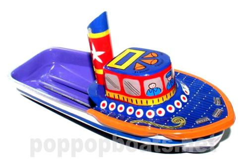 Jumbo Pop Pop Tug Boat - Hand Painted. Blue and Violet