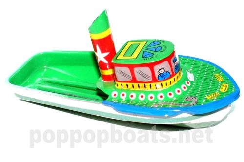 Jumbo Pop Pop Tug Boat - Hand Painted. Blue and Green Base Colours.