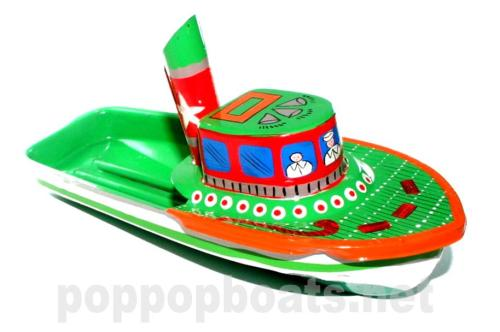 Jumbo Pop Pop Tug Boat - Hand Painted. Orange and Green Base Colours