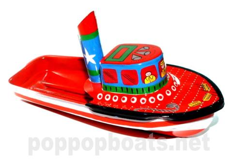 Jumbo Pop Pop Tug Boat - Hand Painted. Red and Orange Base Colours.