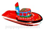 Jumbo Pop Pop Tug Boat - Hand Painted. Orange Colours.