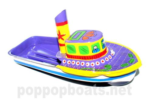 Jumbo Pop Pop Tug Boat - Hand Painted. Violet Base Colour.
