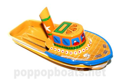 Jumbo Pop Pop Tug Boat - Hand Painted. Yellow Base Colour.