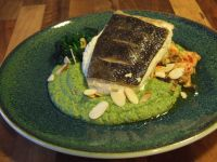 halibut and broccoli with shrimp sauce