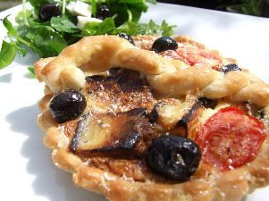 veggie - chargrilled aubergine olive and tomato tart