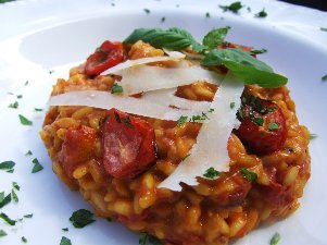 veggie - roasted tomato and saffron risotto