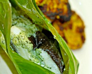 plaice in banana leaf