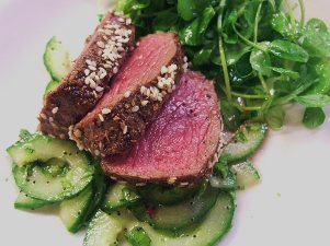seared beef cucumber and poppy seed salad